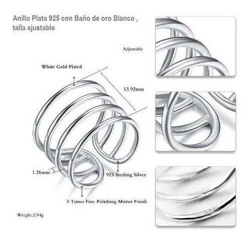 anillo plata cuatro banda talla ajustable