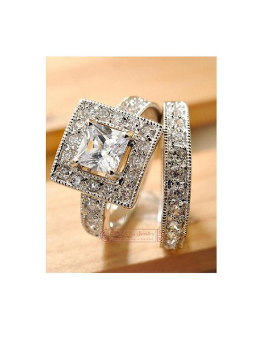 anillo plata diamantes