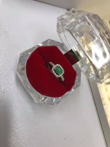 anillo plata esmeralda compromiso dama precio de oferta