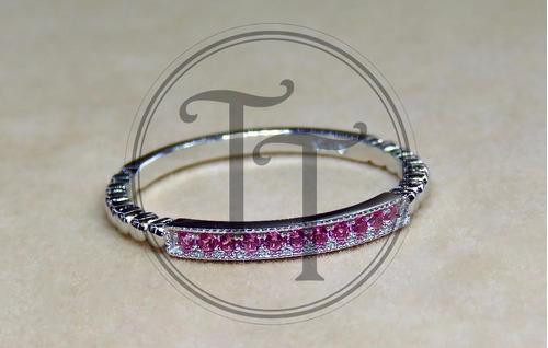 anillo plata esterlina 925 sona zafiros rosas # 7-8-9