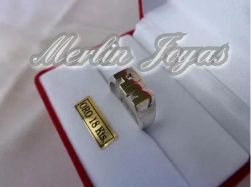 anillo plata fina 950 y oro 18k doble inicial macizo