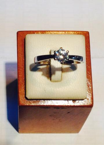 anillo plata fina solitario circon rodinado psp gps