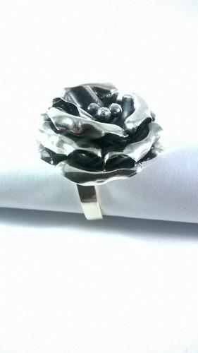anillo plata flor rosa plata 0.925 joya diseño compromiso