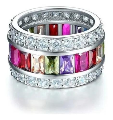 anillo plata genuino multicolor