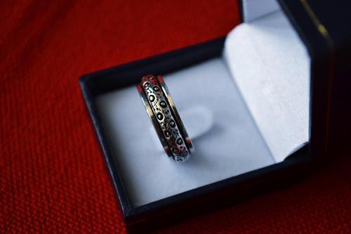 anillo plata hombre grueso con diseño 20 mm