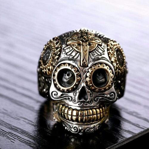 anillo plata maciza 925 calavera mexicana hombre mujer