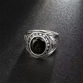 más baratas e1514 bd8aa Anillo Plata Obsidiana Facetada Vintage Moda Tendencia Negro
