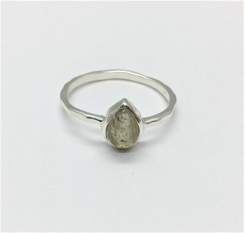 anillo plata piedra natural opalo gota