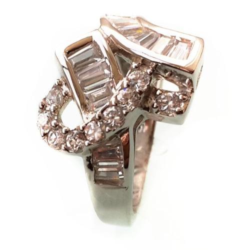 anillo plata rodinado uni-tono :: incrustaciones zircones