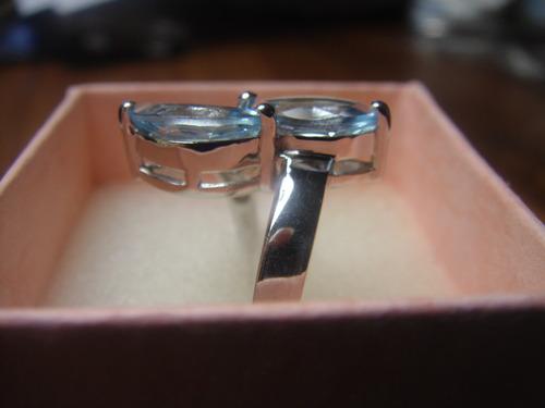 anillo plata topacios