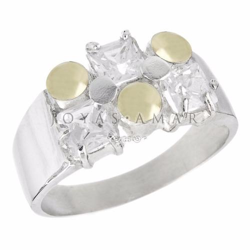 anillo plata y oro 3 piedras cubic carre engarzado