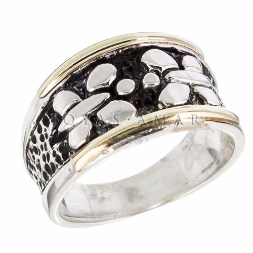 anillo plata y oro bombe centro 2 mariposas