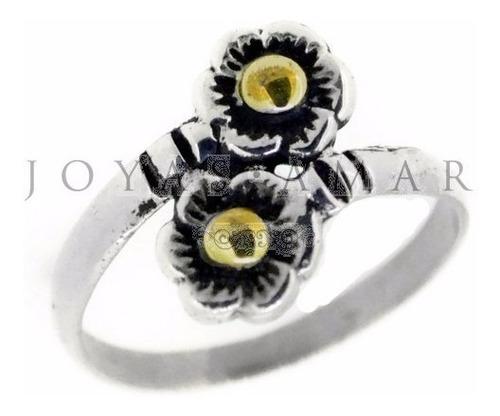 anillo plata y oro fino 2 florcitas cruzado
