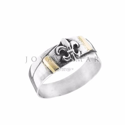 anillo plata y oro flor de lis cinta cruzada
