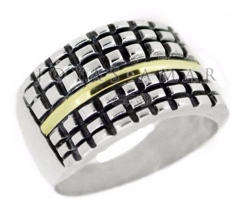 anillo plata y oro grande