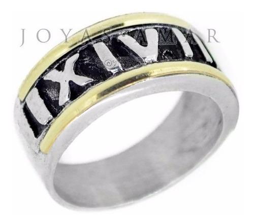 anillo plata y oro números romanos