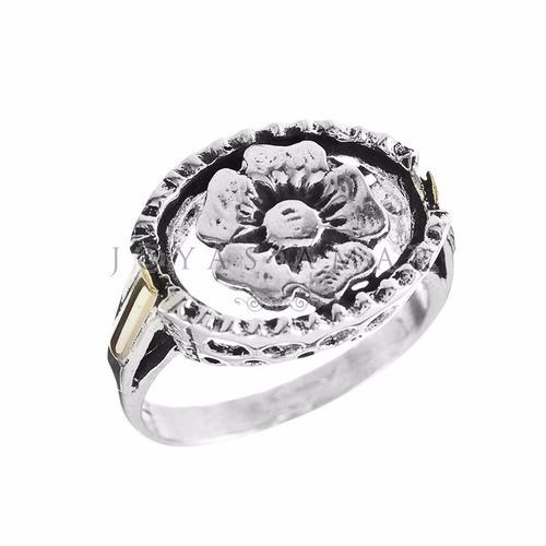 anillo plata y oro oval altura calado con flor
