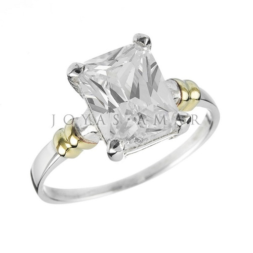 anillo plata y oro piedra rectangular cintillo compromiso