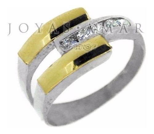 anillo plata y oro piedras cubic cruzado 2 filas