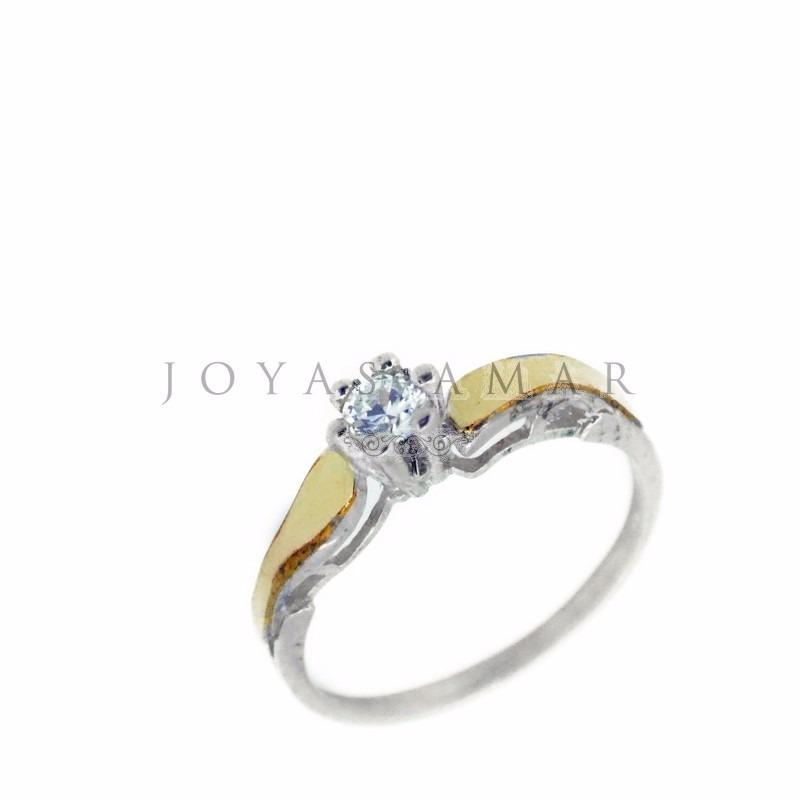 25a74c25733c anillo plata y oro solitario cintillo compromiso piedra 4mm. Cargando zoom.