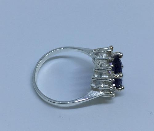 anillo plata zafiro
