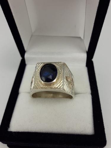 anillo plata zafiro oval y apliques flor de lis en oro