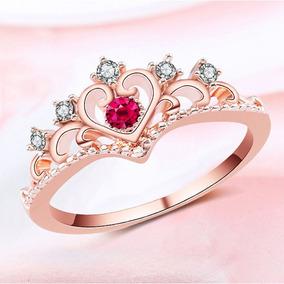 bf5658483b2f Anillo Princesa Corona Swarovski Rosa Talla 8 Regalo A-540