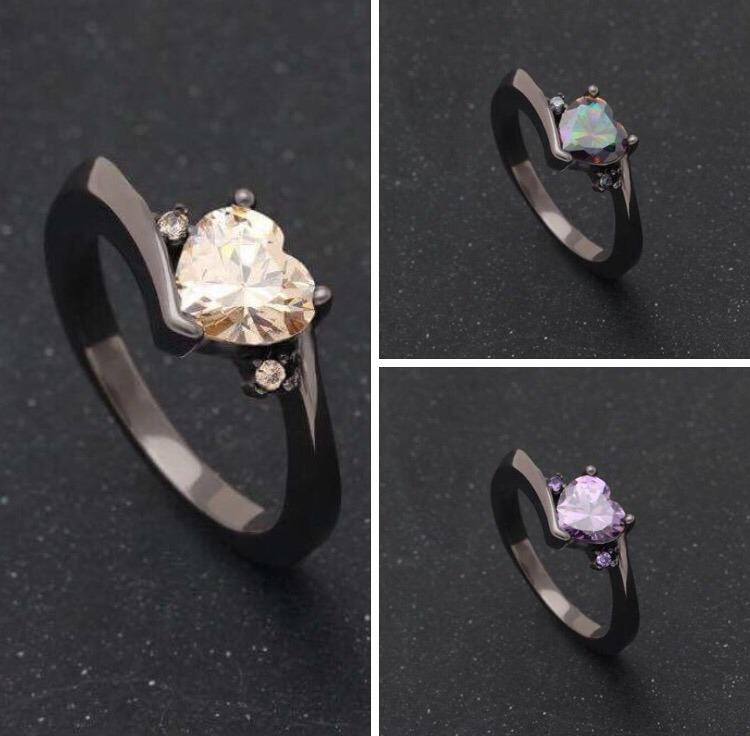 d233effefe04 Anillo Promesa De Matrimonio Corazón Baño Oro Negro 18k -   450.00 ...