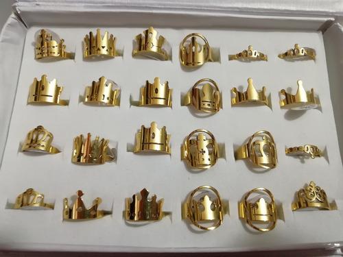 anillo queen king, reina rey acero inoxidable plata dorado