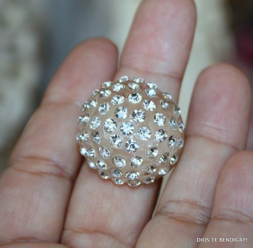 anillo resina y cristales numero 12