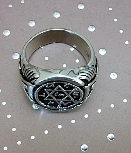 anillo rey salomon para hombre grueso personalizado plata925