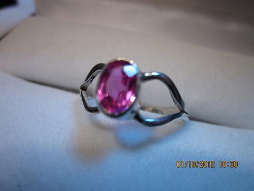 anillo rosa de francia y plata 925