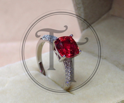 anillo rubi sona 2.47ct, plata esterlina 925, zirconia 1.0ct