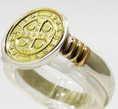anillo san benito plata 925 oro 18 k. mujer estuche garantia