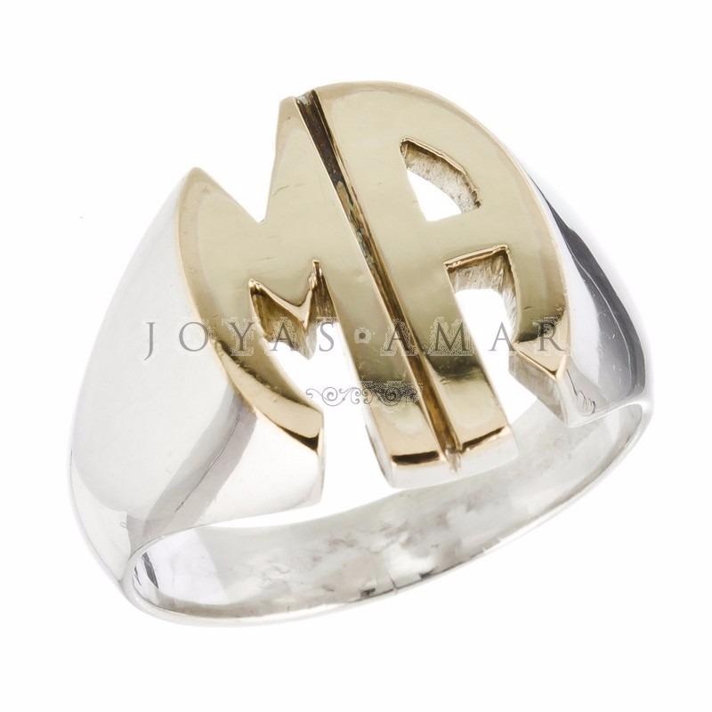 246c3bdb55fc anillo sello 2 letras iniciales calado macizo plata y oro. Cargando zoom.