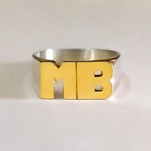 anillo sello 2 o 3 iniciales plata 925 y oro 18k oferta!