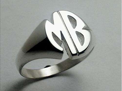 anillo sello con iniciales plata 925