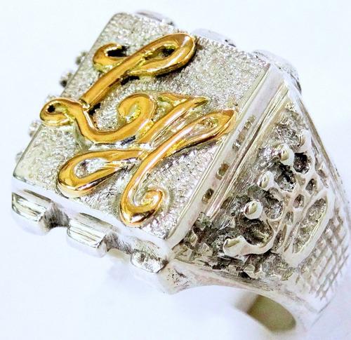 anillo sello corona plata 925 oro 18k macizo monograma oro