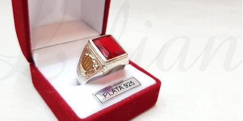 anillo sello hombre coronas...plata 925 y oro