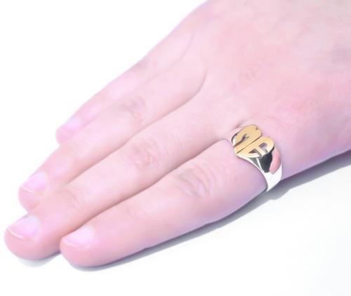 anillo sello iniciales en plata 925 y oro 18k - corazón