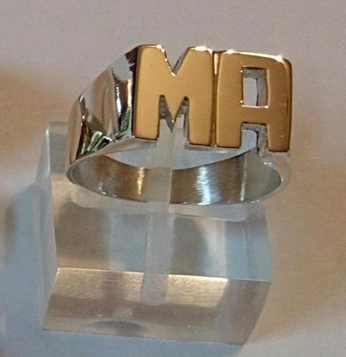 anillo sello iniciales plata (925) oro (18kt.)