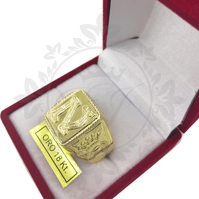 d87026f98941 anillo sello oro 18k corona costados y letra en relieve 7.7g. Cargando zoom.