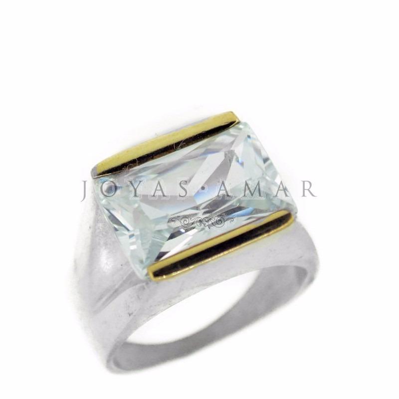 52d25de80623 anillo sello piedra rectangular facetada plata y oro. Cargando zoom.