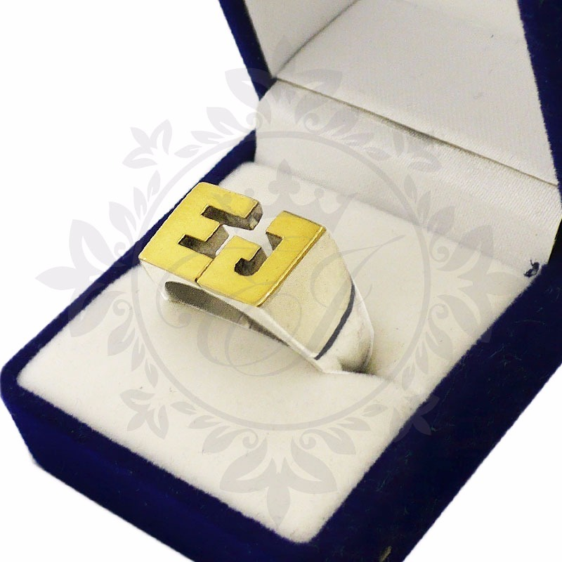 6e09c7ddfc40 anillo sello plata 925 y oro con iniciales macizo chico. Cargando zoom.