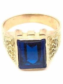 476febd533e2 Anillo Sello   Sarso De Oro 18kt Con Circón Azul (a170)