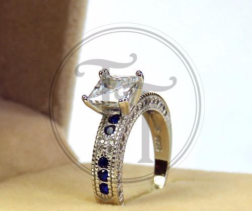 anillo silver alloy 925, zirconia 3.5 ct zafiros creados #8