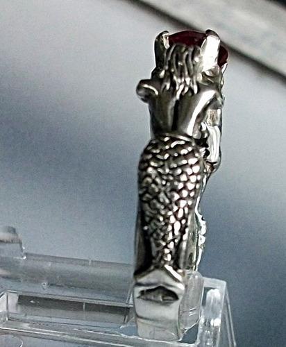 anillo sirena compromiso reyna princesa plata rubí cultivado