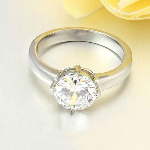 anillo solitario 9mm acero inoxidable  zirconias  boda novio