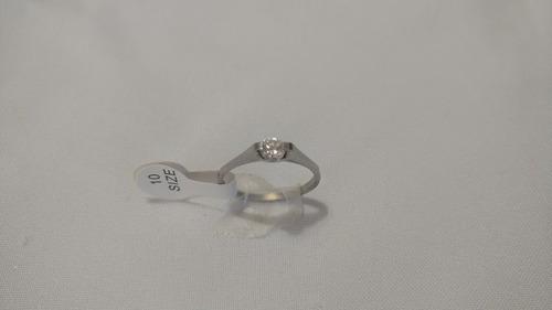anillo solitario, acero inoxidable con zirconia envío gratis