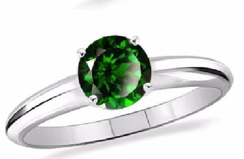 anillo solitario calidad + plata 925 y zirconia esmeralda